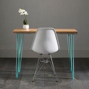 Oak Work Desk With Modern Turquoise Inlay - furniture