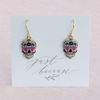 Multi Coloured Pattern Skull Earrings