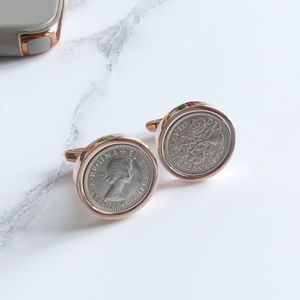 Rose Gold Sixpence Date Coin Cufflinks - cufflinks