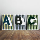 Personalised, Initial Letter Chevron Giclée Print