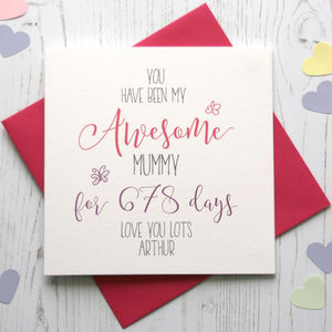 No Of Days Being My 'Awesome' Mum/Mummy Card