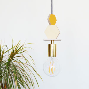 Mustard, Pink And Brass Wooden Hexagon Pendant Light