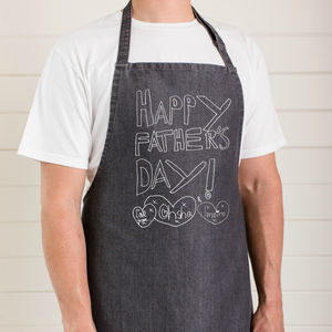 Personalised Dads Apron With Child's Drawing - aprons