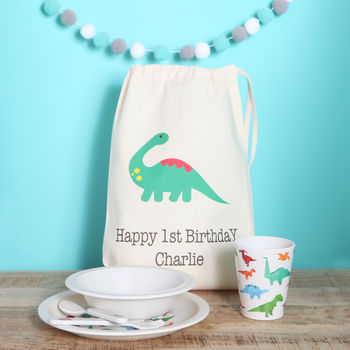 Dinosaur Design Dinner Set And Personalised Bag