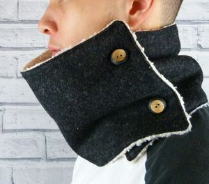 Charcoal Yorkshire Tweed Neckwarmer Scarf