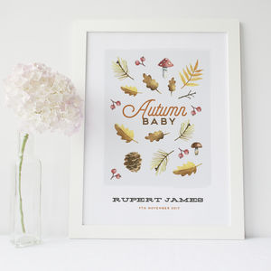 Autumn Baby Personalised Print - children's pictures & paintings