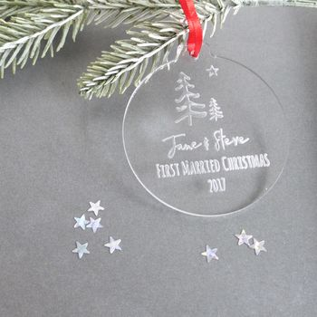 First Married Christmas Personalised Winter Bauble