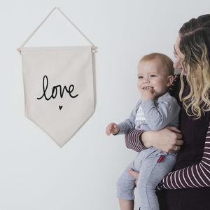 Love And Heart Fabric Hanging Wall Banner - our home