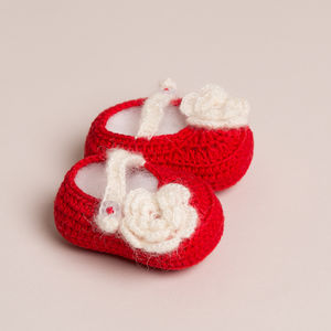 Hand Crochet Little Red Shoes - babies' shoes, sandals & boots
