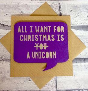 Papercut Unicorn Confetti Christmas Card