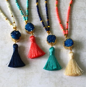 Children's Semi Precious Stone Tassel Necklace