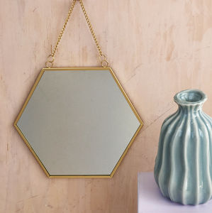 Gold Hexagon Mirror With Chain - mirrors
