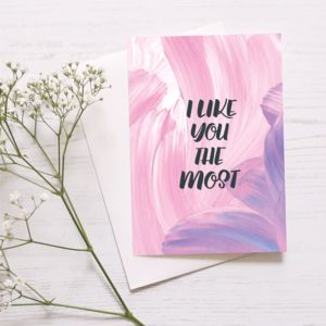Cute Anniversary Card 'I Like You The Most' - winter sale