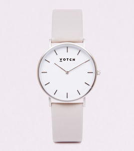 Classic Silver Vegan Leather Watch - watches