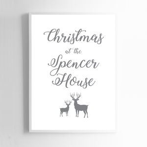 Personalised Christmas At The Spencer House Print - posters & prints
