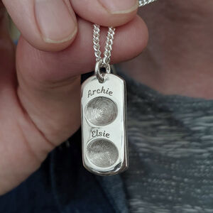 Personalised Silver Duo Fingerprint Dog Tag
