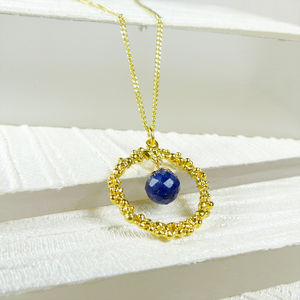 Lapis Lazuli Textured Circle Pendant - necklaces & pendants