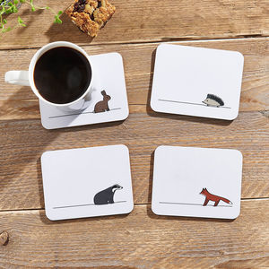 Woodland Collection Coasters, Set Of Four
