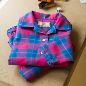 Children's Pyjamas In Pink Tartan Two Fold Flannel
