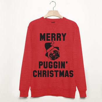 Merry Puggin' Christmas Men's Pug Slogan Sweatshirt