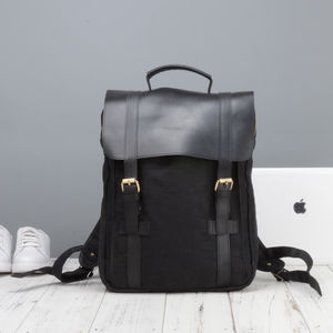 Waxed Canvas And Leather Backpack - backpacks