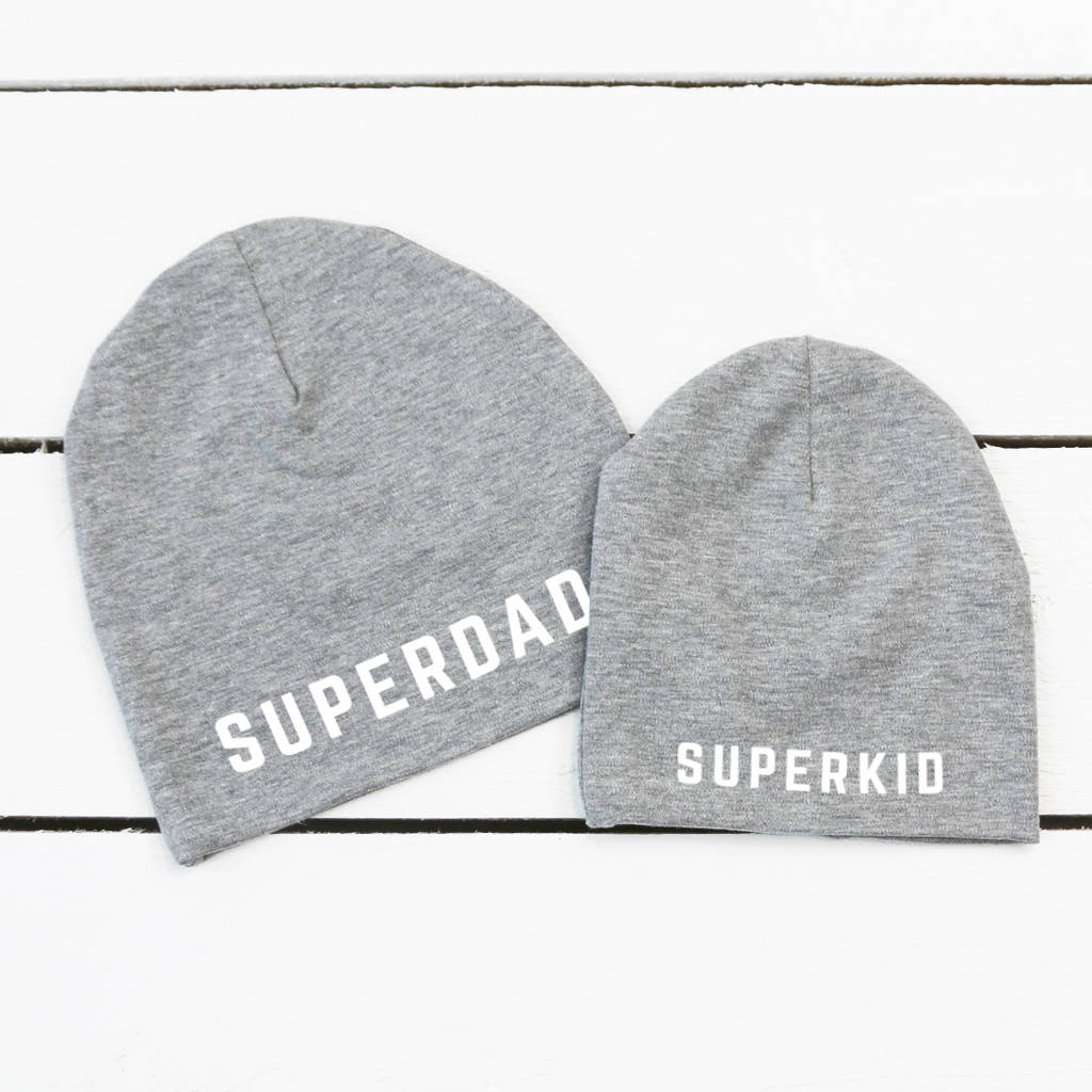 super dad and super kid beanies by holubolu personalised childrens ... 09dac7e9d15