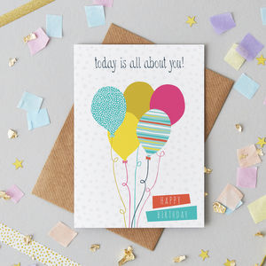 Birthday Balloons Greetings Card