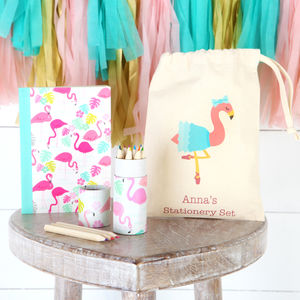 Flamingo Stationery Set With Personalised Bag - pens, pencils & crayons