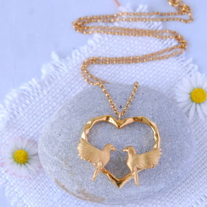 Gold Heart Love Bird Necklace - necklaces & pendants