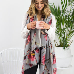 Personalised Pink Possum Flower To Charcoal Scarf - gifts for mothers