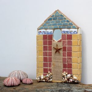 Fish Border Beach Hut Mosaic Coastal Wall Art