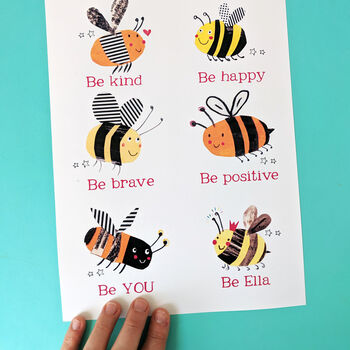 Personalised Bee You Print - pink wording