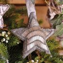 Embroidered Silver Star Tree Decoration