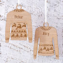 Personalised Wooden Reindeer Jumper Decoration