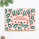 Pink Holly Christmas Card