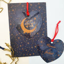 Personalised Moon And Back Heart Decoration And Card