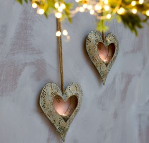 Hanging Heart Tea Light Holders
