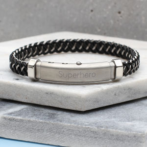 Personalised Titanium And Leather Contemporary Bracelet - bracelets