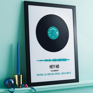 Personalised Vinyl Record Framed Song Print - mixed media & collage