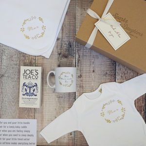 Personalised New Mum And Baby Hamper - clothing