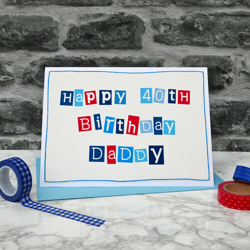 Personalised Mens 40th Birthday Card