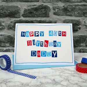 Personalised Mens 40th Birthday Card - birthday cards