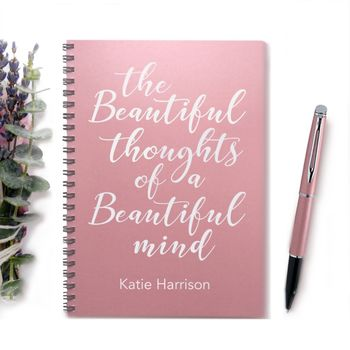 'Beautiful Mind' Luxe Pearlised Personalised Notebook