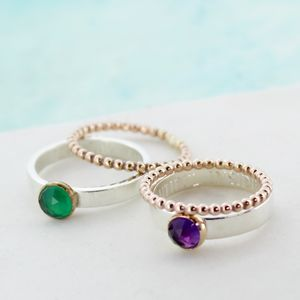 Personalised Rose Gold And Silver Gemstone Stacker Ring - rings