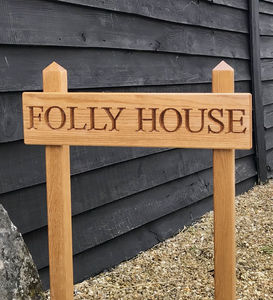 Oak House Sign And Post - outdoor wedding signs