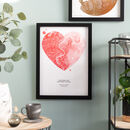 Red Pink Watercolour Heart Map Print