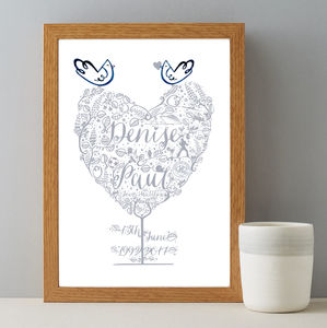 25th Anniversary Wedding Personalised Print