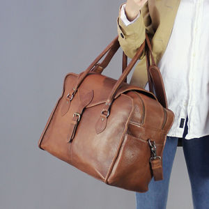 Vintage Style Brown Leather Baby Changing Bag