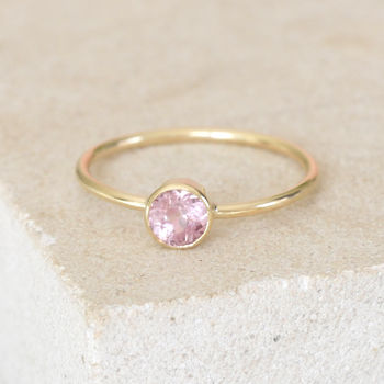Gold Dainty Bezel Set Pink Spinel Ring