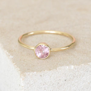 Gold Dainty Bezel Set Pink Spinel Ring - engagement rings